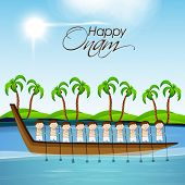 Illustration of South Indian people taking part in Snake Boat Racing in at river with coconut trees