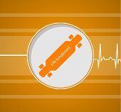 pic of striper  - Flat vector illustration of longboard which gives a life on striper orange background - JPG