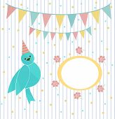 Cute blue bird on a background of festive garland and frame