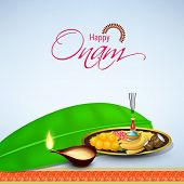 Illustrational of illuminated oil lit lamp, banana leaf and sweets, banana and coconut for worship o