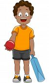Illustration of a Boy Handing Out a Cricket Ball