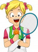 Illustration of a Young Female Tennis Player Showing Her Medal
