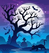 Spooky tree theme image 2 - eps10 vector illustration.