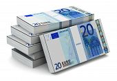 Stacks of 20 Euro banknotes
