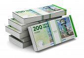 Stacks of 200 Danish krones