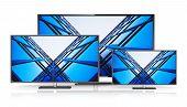 Set of widescreen TV displays