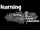 High resolution concept or conceptual learning and education abstract word cloud on black background