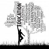 Concept or conceptual black education text word cloud or tagcloud as tree and grass, a man jumping,