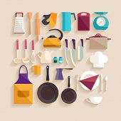 Kitchen workplace. Flat design.