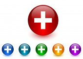 plus internet icons colorful set