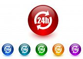 24h internet icons colorful set