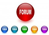 forum internet icons colorful set