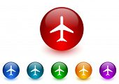 plane internet icons colorful set