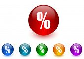 percent internet icons colorful set