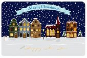 Winter Village Seasonal Greetings Vector Illustration. Christmas and New Years Greeting Card with illuminated townhouses and church.