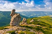 Landscape with rock in Carpathian mountains