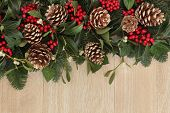 Christmas and winter background border with holly, pine cones, mistletoe and fir background border o