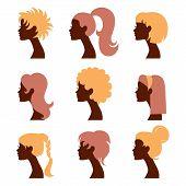 Women silhouettes icons set