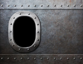 stock photo of ironclad  - ship or submarine window steam punk metal background - JPG