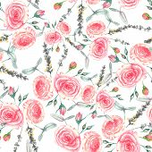 Hand drawn watercolor floral seamless pattern with tender pink roses in vector on the light white ba
