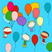 Child's drawing of happy friends with colorful balloons, enjoying their flight high in the sky (raster version)