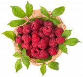 Basket Of Raspberries With Leaves, Top View