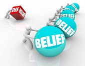 Man with disbelief fails or loses in race or life against other people with belief, confident in their faith or abilities and winning or succeeding