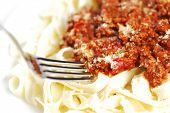 Spaghetti bolognese and fork, italian cuisine concept