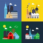 Flat Design Of Cityscape Pack