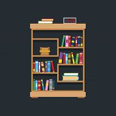 Flat Design Of Library Bookshelf