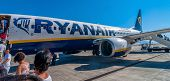 Passengers Boarding Ryanair Jet Airplane In Palermo Airport, Italy