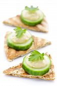 Appetizer Of Pita With Hummus And Cucumber