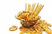 Many Pretzels And Breadsticks On A Plate