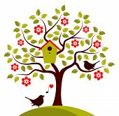 picture of bird-nest  - vector flowering tree with nesting bird box and couple of birds isolated on white background - JPG