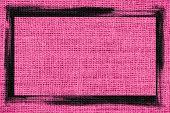 pink burlap textured background with black frame design