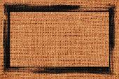 brown burlap textured background with black frame design
