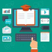 foto of online education  - Vector online education concept  - JPG