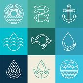 image of fish icon  - Vector water line icons and logos  - JPG