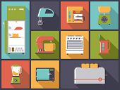 Kitchen Appliances icons vector illustration. Flat design illustration with various electric cooking appliances.