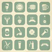 Retro beer icons set. Vector illustration