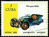 Vintage Postage Stamp. Antique Car Morgan - 1909.