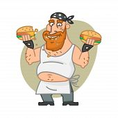 Biker man eating hamburgers