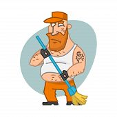 Biker man holding broom