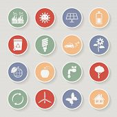 Round ecology icon set. Vector illustration
