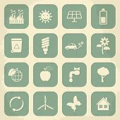 Retro ecology icon set. Vector illustration