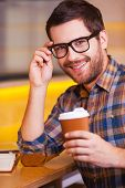 Man Inspired With Cup Of Fresh Coffee