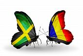 Two Butterflies With Flags On Wings As Symbol Of Relations Jamaica And Chad, Romania