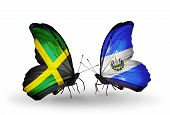 Two Butterflies With Flags On Wings As Symbol Of Relations Jamaica And Salvador