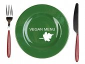 Plate with text Vegan Menu, fork and knife isolated on white