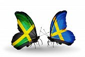 Two Butterflies With Flags On Wings As Symbol Of Relations Jamaica And Sweden